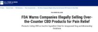FDA Issues Warning Letters on Marketing and Sale of OTC CBD Products